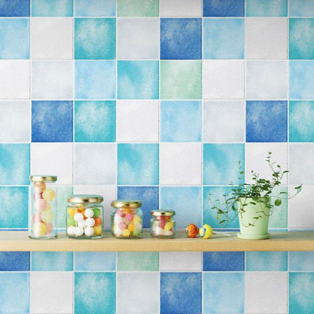 Vinyl Tapeten Verarbeiten : Tapete selbstklebend Fliesenspiegel blau Vinyltapete abwischbar K?che