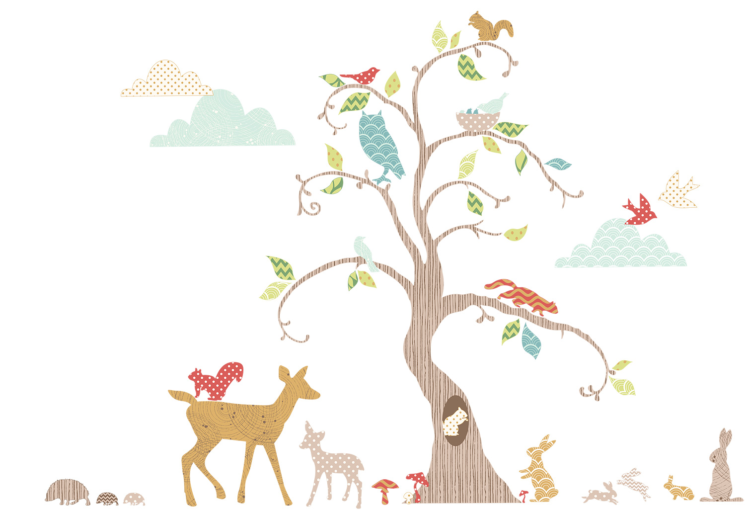 76 riesige wandsticker wandtattoo waldtiere eule deko kinderzimmer babyzimmer. Black Bedroom Furniture Sets. Home Design Ideas