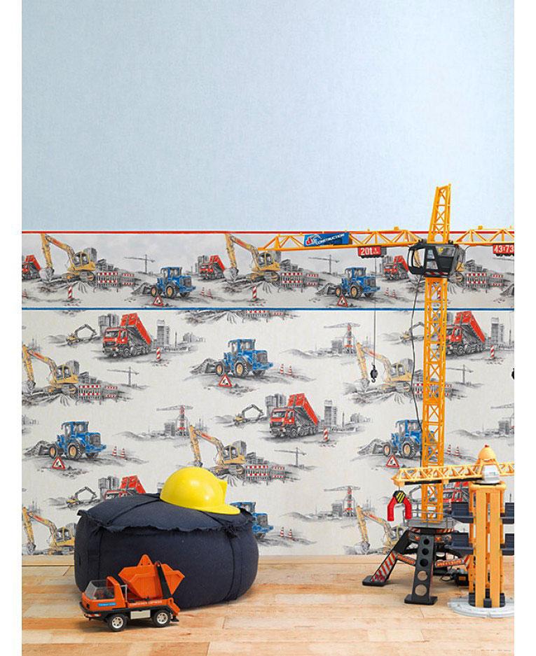 Tapete Baustelle Bagger Bulldozer Kinderzimmer
