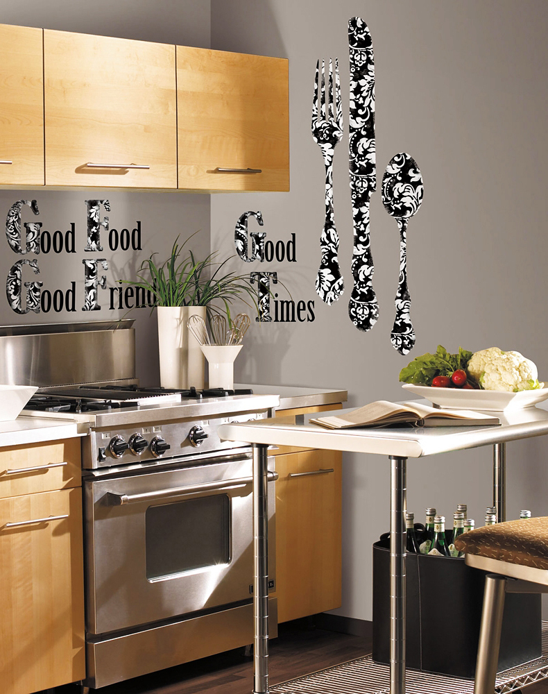 roommates wandsticker good times silberbesteck k che. Black Bedroom Furniture Sets. Home Design Ideas