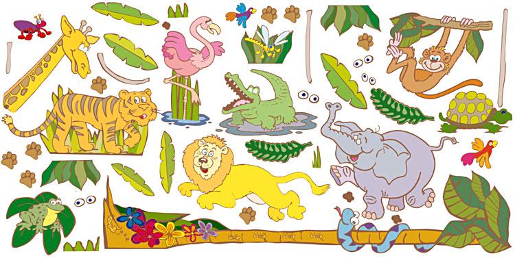 54 riesen wandsticker wandtattoo dschungel safari tiere for Dschungel wandtattoo