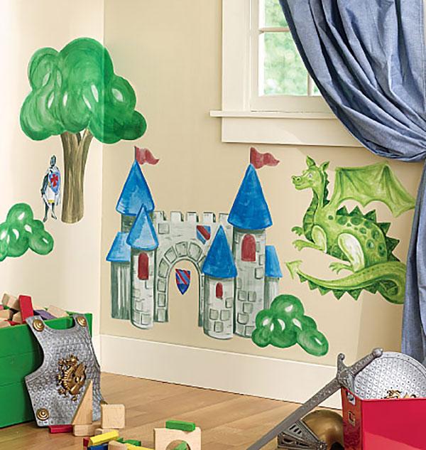 wallies ritterburg drache ritter wandsticker wanddeko. Black Bedroom Furniture Sets. Home Design Ideas