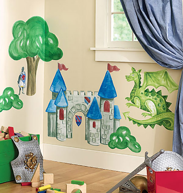 riesige wandsticker ritterburg drache ritter burg wandaufkleber vorgeleimt ebay. Black Bedroom Furniture Sets. Home Design Ideas