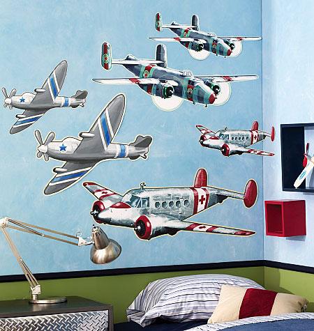 wallies wandsticker wandtattoo flugzeuge 6 teile | www.4-haen.de - Kinderzimmer Flugzeug