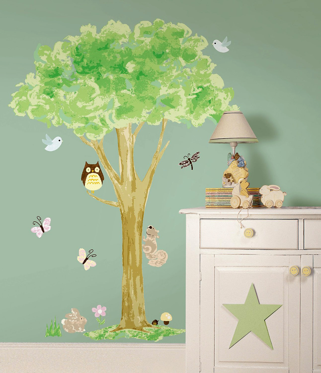 wandsticker wandtattoo wandbild baum mit waldtieren 140 cm www 4. Black Bedroom Furniture Sets. Home Design Ideas