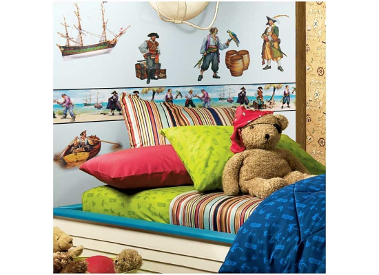 bord re piraten kinderzimmer jungen seer uber schatzkiste tapeten borte insel ebay. Black Bedroom Furniture Sets. Home Design Ideas