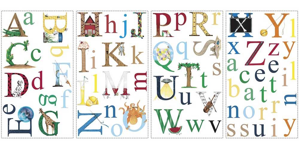 Roommates wandsticker wandtattoo alphabet kinderzimmer for Kinder wandtapeten