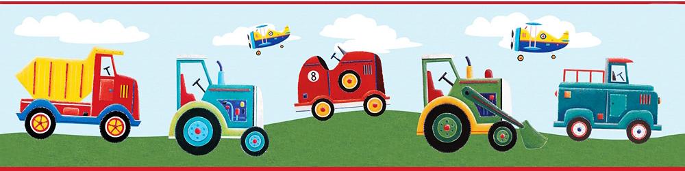 Boy Toys Border : Bordüre transportfahrzeuge tapeten borte kinderzimmer