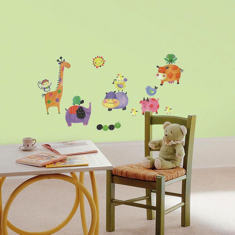 wandsticker kinderzimmer wandtattoo lustige tiere 33 st ck babyzimmer wanddeko ebay. Black Bedroom Furniture Sets. Home Design Ideas