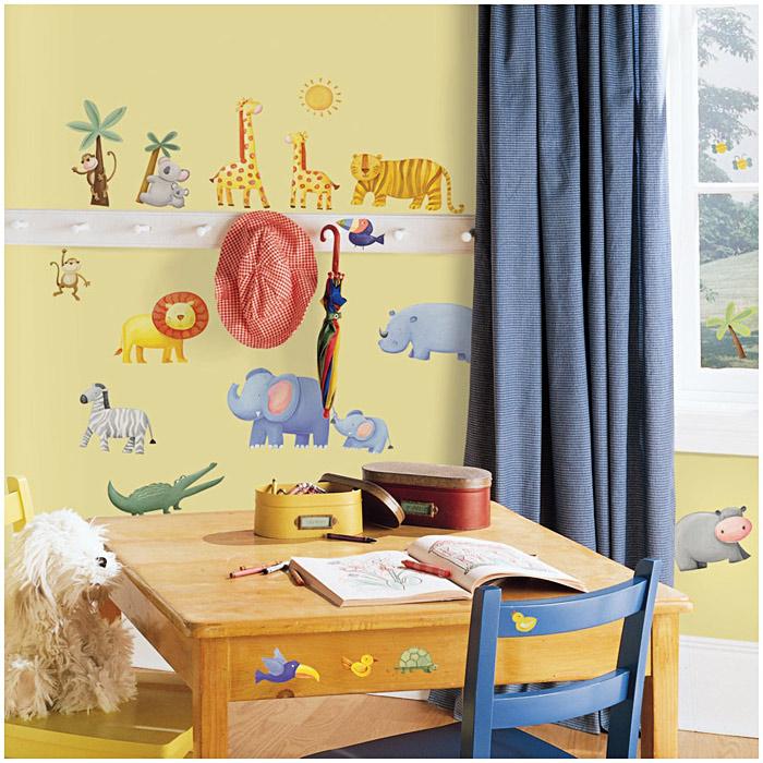 roommates wandsticker dschungeltiere kinderzimmer. Black Bedroom Furniture Sets. Home Design Ideas
