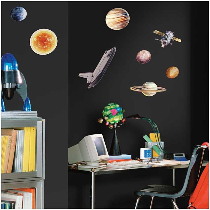 Roommates wandtattoo wandaufkleber wandsticker planeten for Kinderzimmer weltall