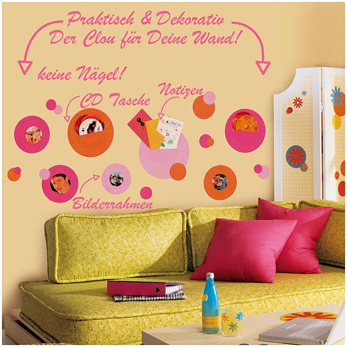 Roommates wandsticker wandtaschen fotohalter pink orange - Roommates wandsticker ...