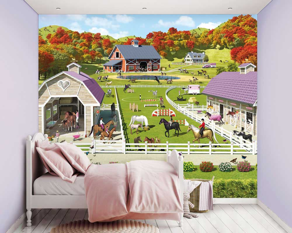 walltastic fototapete m dchen pferde pony wandbild kinderzimmer www 4. Black Bedroom Furniture Sets. Home Design Ideas