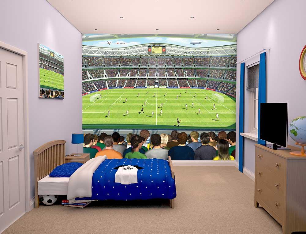 fototapete kinderzimmer fu ball arena walltastic fototapete. Black Bedroom Furniture Sets. Home Design Ideas