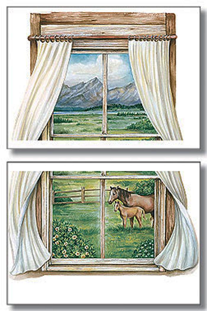 Wallies wandsticker landhaus pferde pony fenster wohnzimmer - Landhaus fenster ...