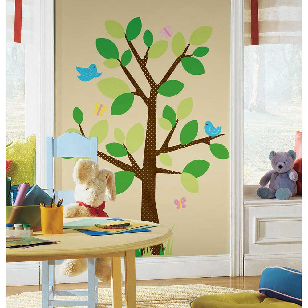 roommates wandsticker wandbild wandtattoo baum dotted tree ca 122 x 173 cm ebay. Black Bedroom Furniture Sets. Home Design Ideas