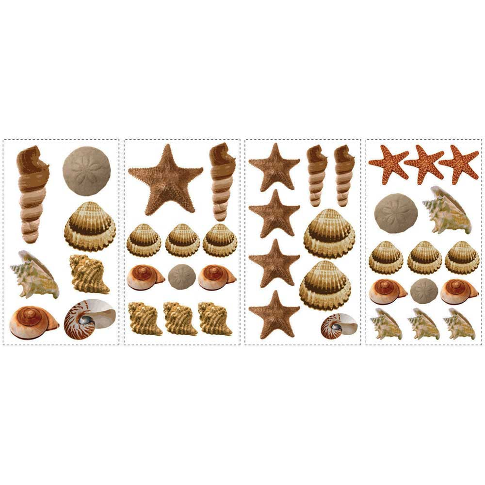 wandsticker wandtattoo muscheln sea shells seepferdchen. Black Bedroom Furniture Sets. Home Design Ideas