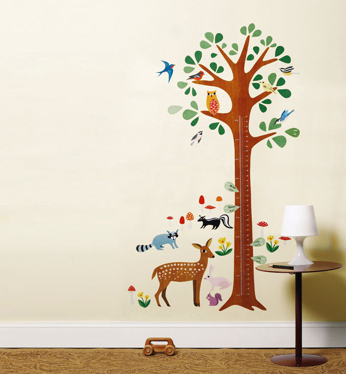 wandsticker messlatte wachstumstabelle baum tiere des waldes ebay. Black Bedroom Furniture Sets. Home Design Ideas