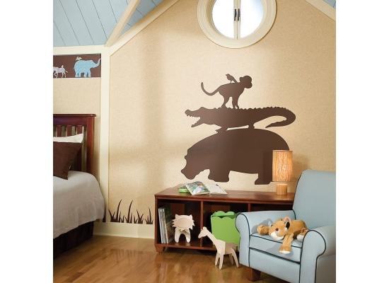 Roommates wandsticker wandbild safari braun kinderzimmer for Wandtattoo braun
