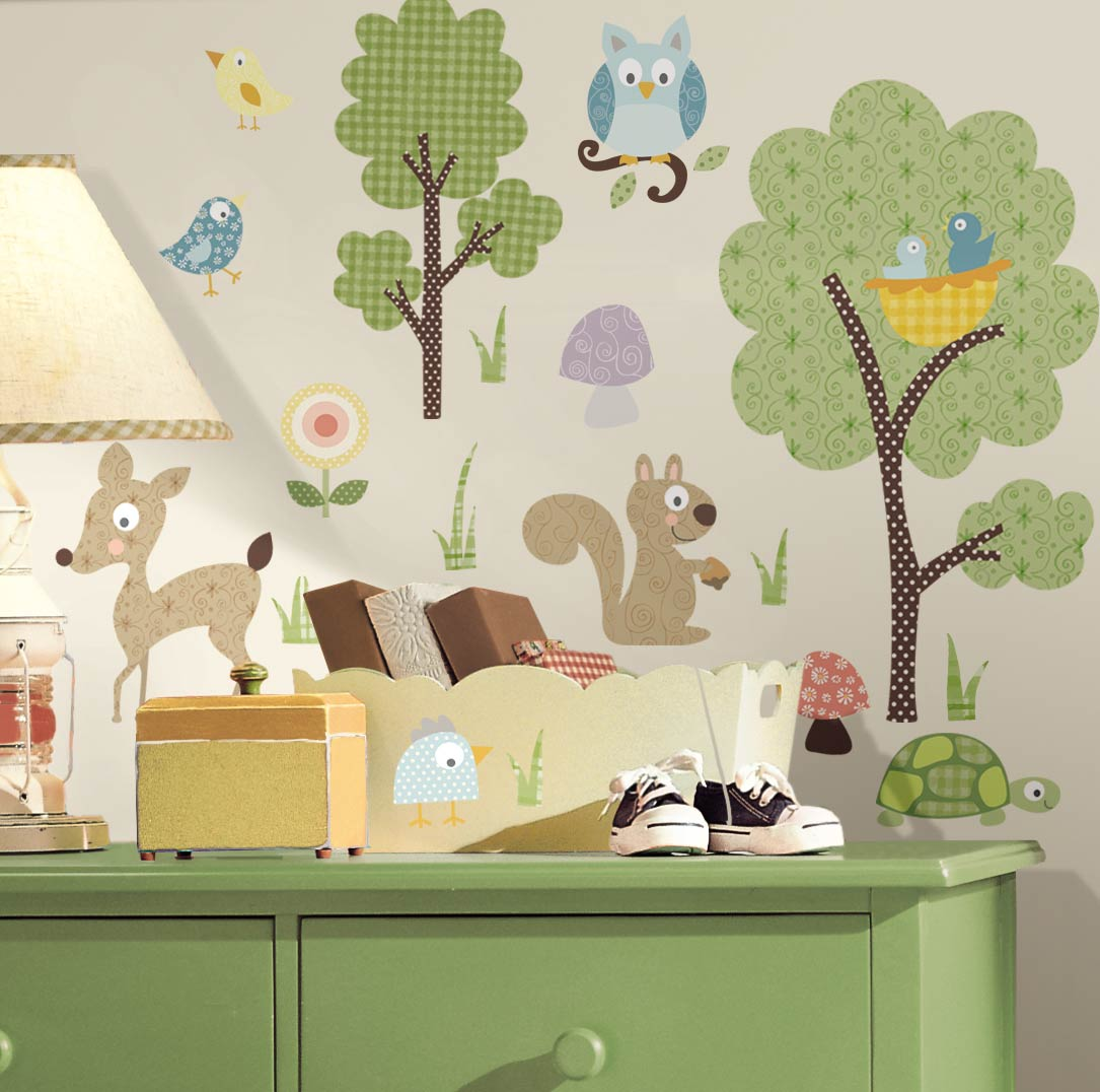 wandsticker waldtiere wandtattoo wandbild kinderzimmer. Black Bedroom Furniture Sets. Home Design Ideas