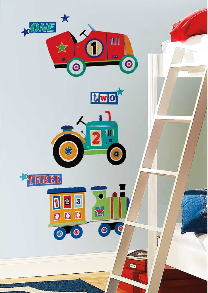 RoomMates Wandsticker Traktor Lokomotive Auto-Kinderzimmer