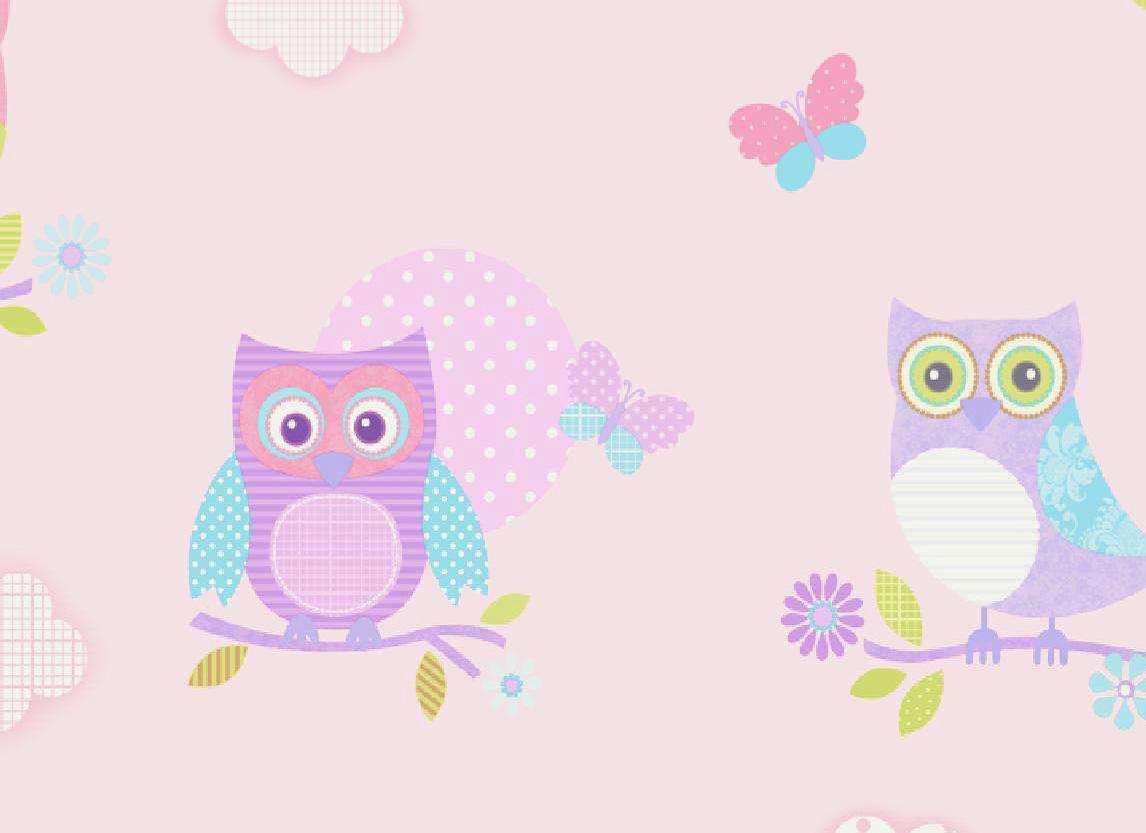 Kinderzimmer eulen tapete pastell pink details - Kinderzimmer pastell ...