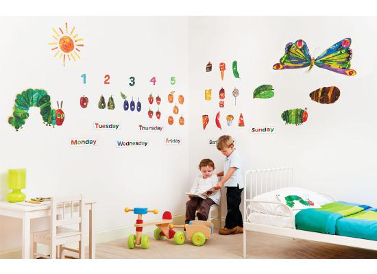 funtosee wanddeko wandsticker wandtattoo raupe nimmersatt kinderzimmer wanddeko ebay. Black Bedroom Furniture Sets. Home Design Ideas