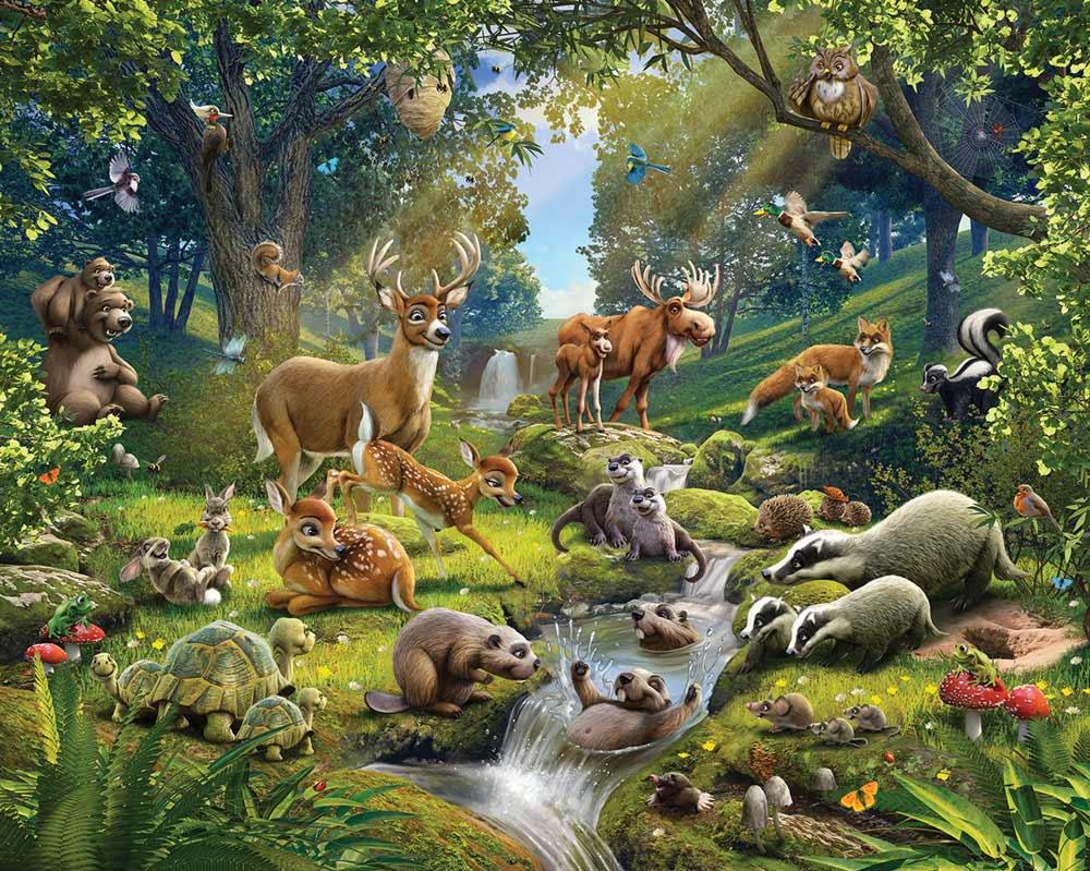 Fototapete Kinderzimmer Tiere des Waldes-Walltastic Fototapete