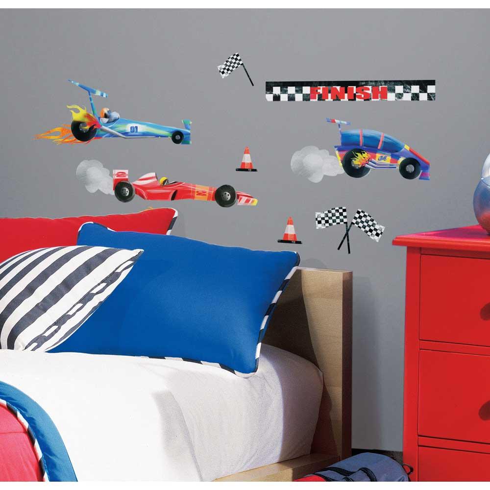 24 wandsticker wandtattoo rennautos formel 1 auto kinderzimmer wand deko jungen. Black Bedroom Furniture Sets. Home Design Ideas